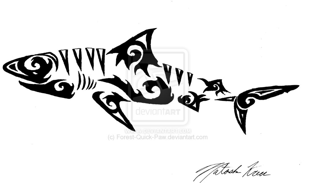 Shark clipart tribal #7