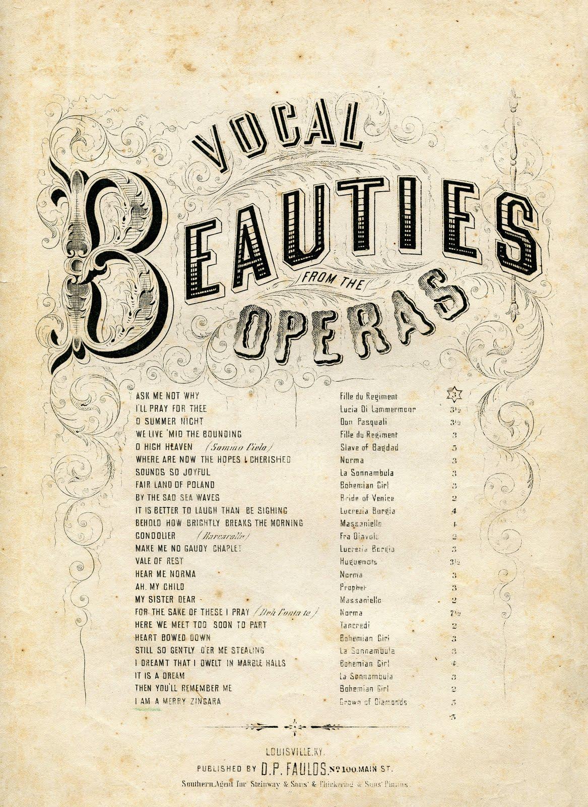 Sheet Music clipart opera Opera Ephemera – Vintage The
