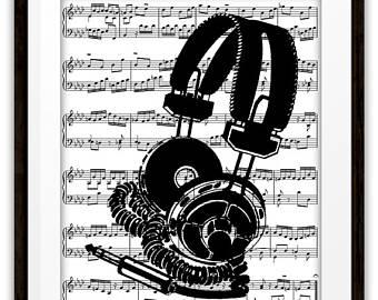 DJ clipart sound technician Print Cord Sound Gift Vintage