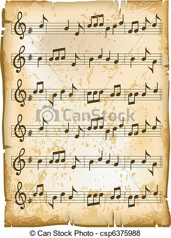 Sheet Music clipart vector Texture Old with music of