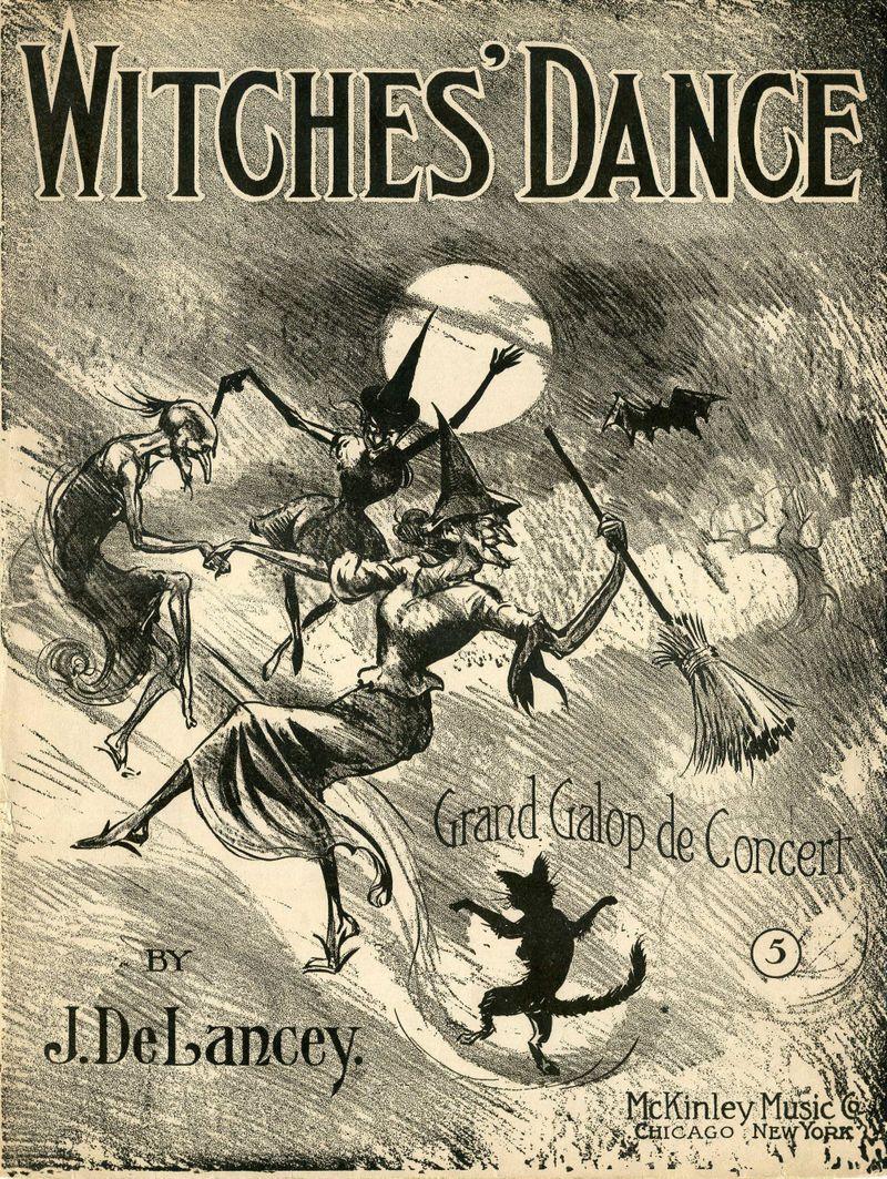 Sheet Music clipart vintage halloween Halloween Sheet Sheet Black Broomstick