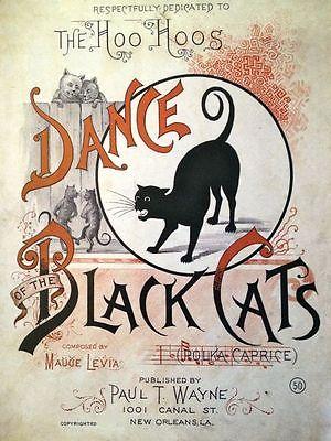 Sheet Music clipart vintage halloween PRINT Black Sheet Cats the
