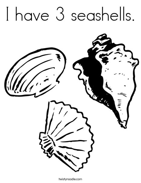 Shell clipart colouring page #3