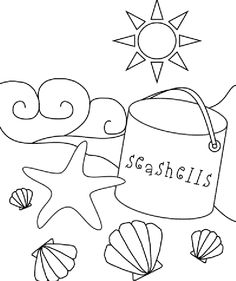 Shell clipart colouring page #13