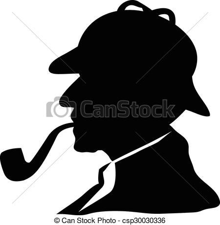 Sherlock Holmes clipart mysterious man EPS 594 Vector Clipart