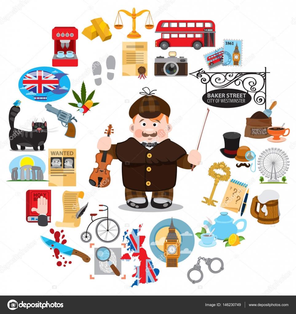Sherlock Holmes clipart any question Stock Sherlock detective © #146230749