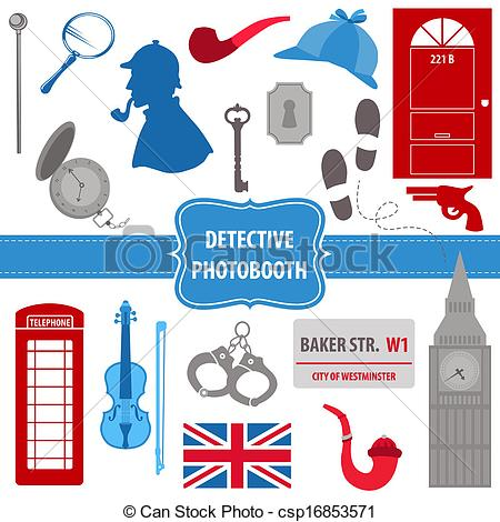 Sherlock Holmes clipart drawing Set pipes of photobooth photobooth