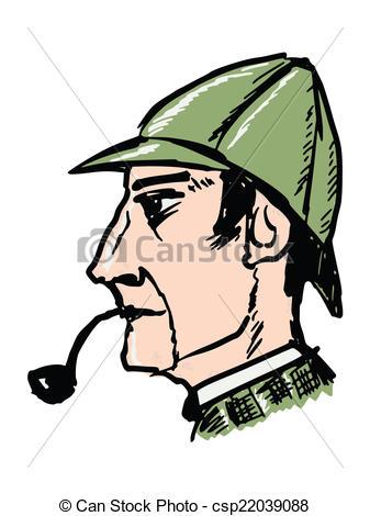 Sherlock Holmes clipart drawing Csp30030336 of Sherlock Art Clip