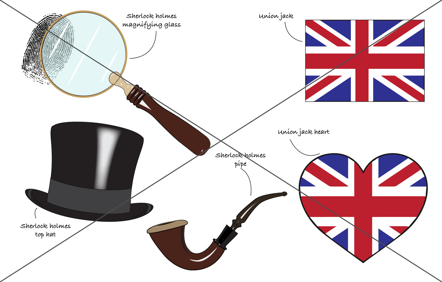 Sherlock Holmes clipart reference London vector digital file set