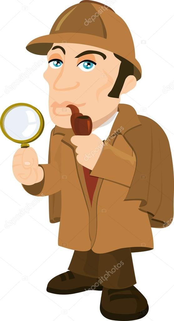 Sherlock Holmes clipart topic With a glass magnifying Vector