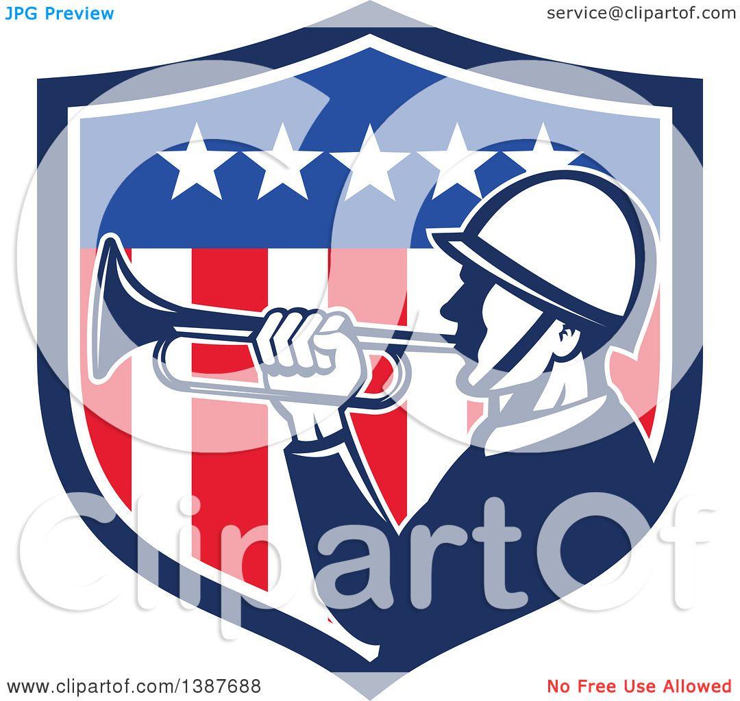 Shield clipart american flag Retro clipart flag a American