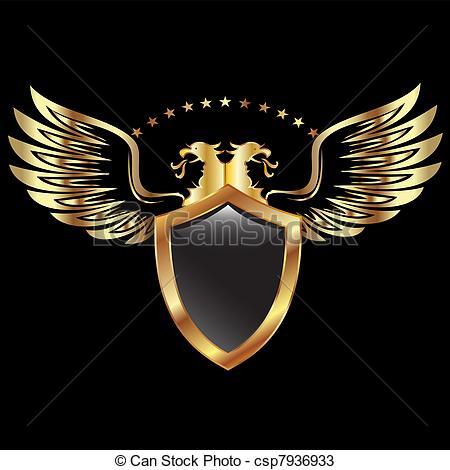 Shield clipart logo design  Vectors Clip stars Gold