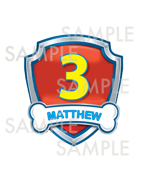 Shield clipart paw patrol Age name  with Personalized