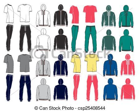 Shirt clipart sport clothes Hoodie men's EPS Vector Set