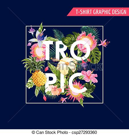 Shirt clipart tropical T Tropical Vector Flowers of