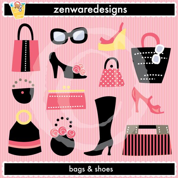 Shoe clipart handbag #12