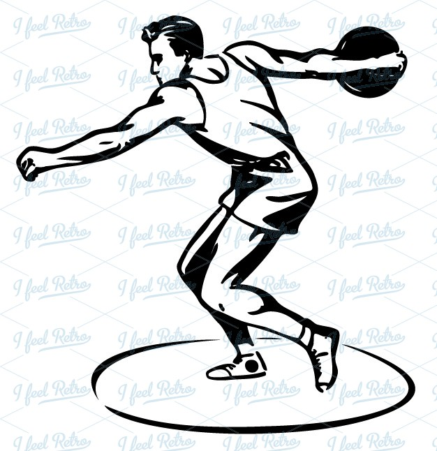Shoot clipart discus Retro thrower European Authentic Clipart: