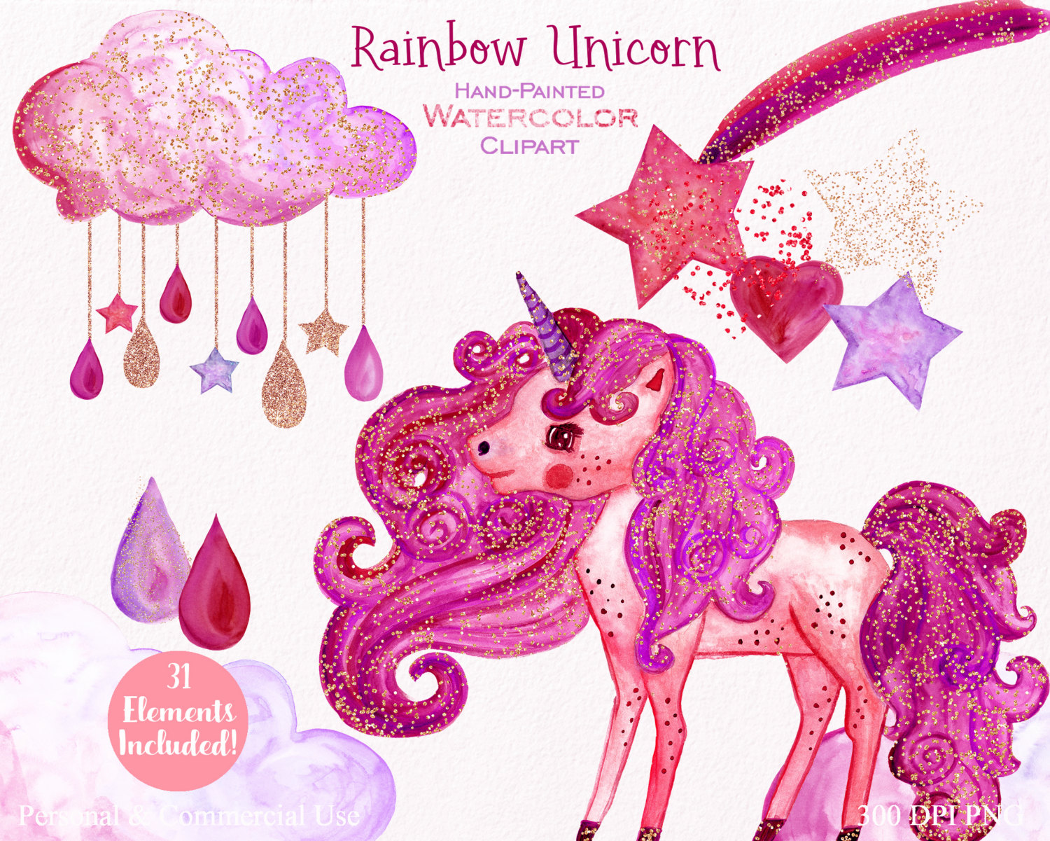 Shooting Star clipart pink Gold digital RAINBOW 31 Clipart