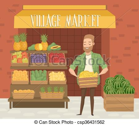 Shop clipart shopkeeper Market farmer Art shopkeeper Local