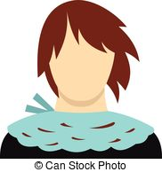 Short Hair clipart different face Vector icon of Girl Abstract