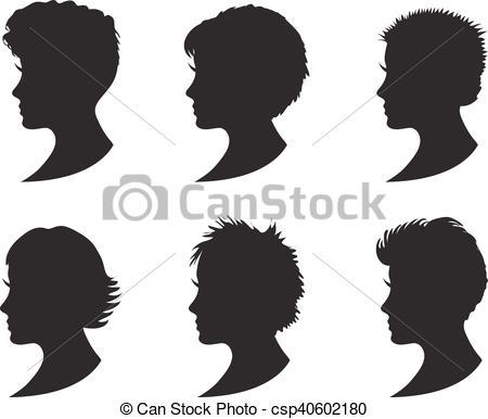 Short Hair clipart different face Girl of women black black