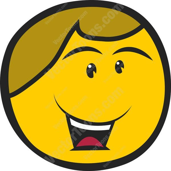 Short Hair clipart guy face Man Open Smiley Brown Happy
