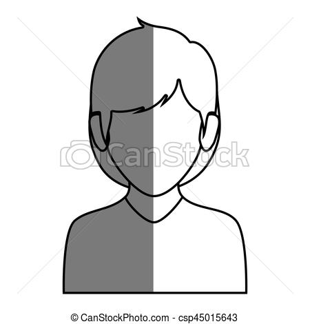 Short Hair clipart man's face Short hair half silhouette short