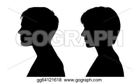 Short Hair clipart mother face Two white Illustration profiles