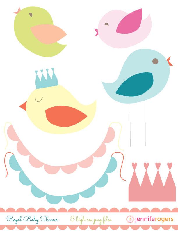 Bird clipart baby shower Royal Design Co Jennifer Rogers
