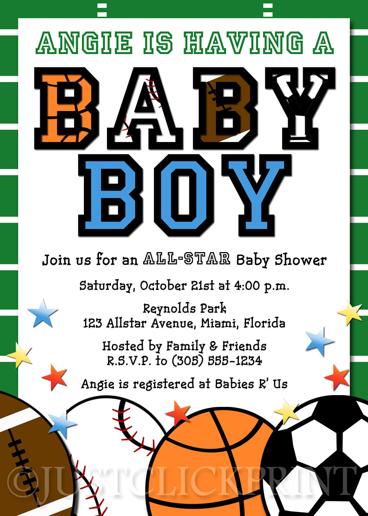 Football clipart baby shower And Sports Invitations  Shower