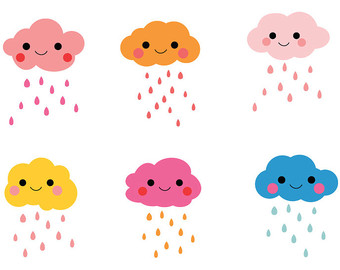 Raindrops clipart cute Clouds clipart Weather Raindrop Raindrop