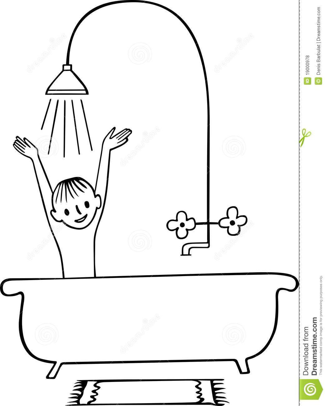 Bathroom clipart kid shower Shower White And #21565