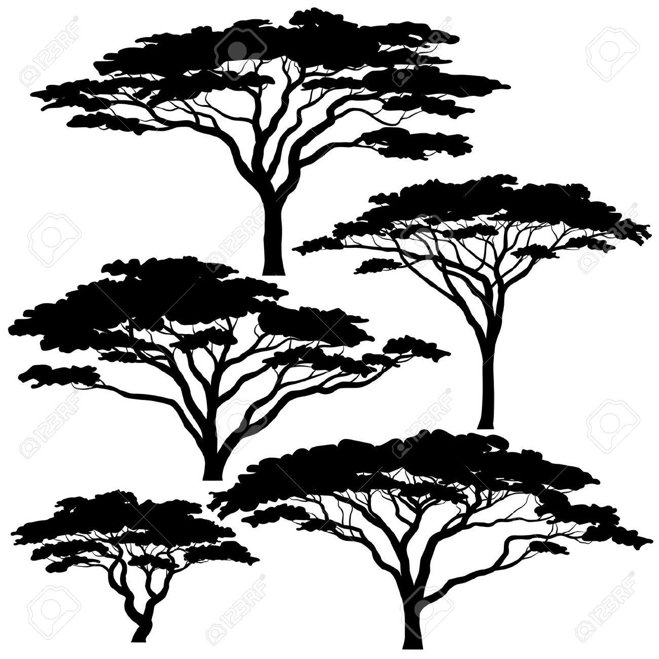 Branch clipart african tree Eps8 silhouettes  of vector