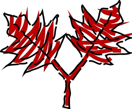 Shrub clipart two tree Vector) art Free Leaves Two