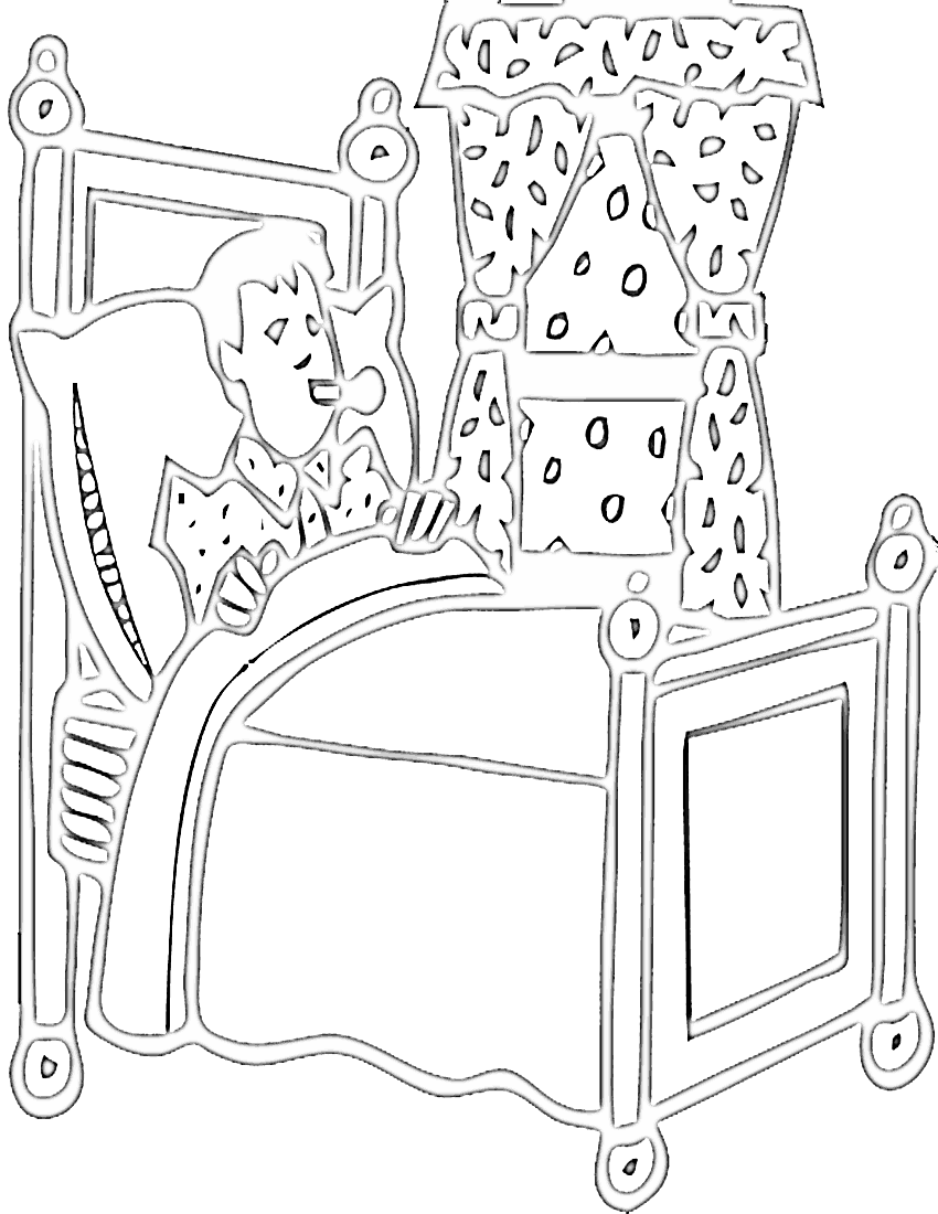 Bedroom clipart colouring #6