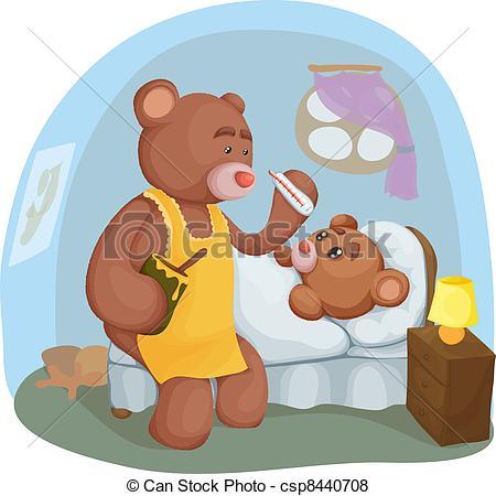 Sick clipart teddy bear Sick Teddy  Vector sick