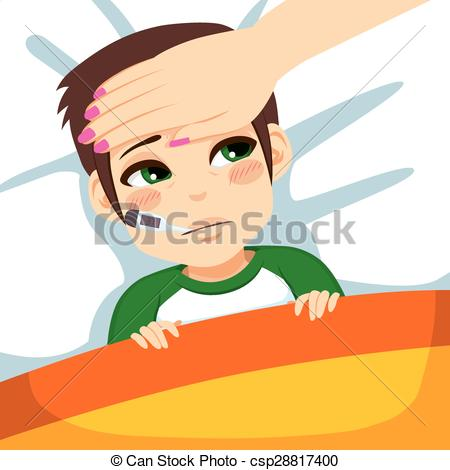 Sick clipart unwell Vector Clipart In Boy ill