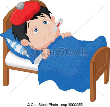 Sick clipart unwell Clipart boy Cartoon Sick lying