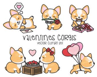 Sick clipart valentine's day Valentines Corgi Clipart Set Clipart