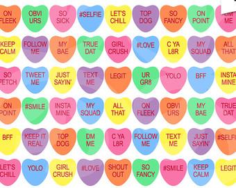Sick clipart valentine's day Hearts clipart Slang Conversation Hearts