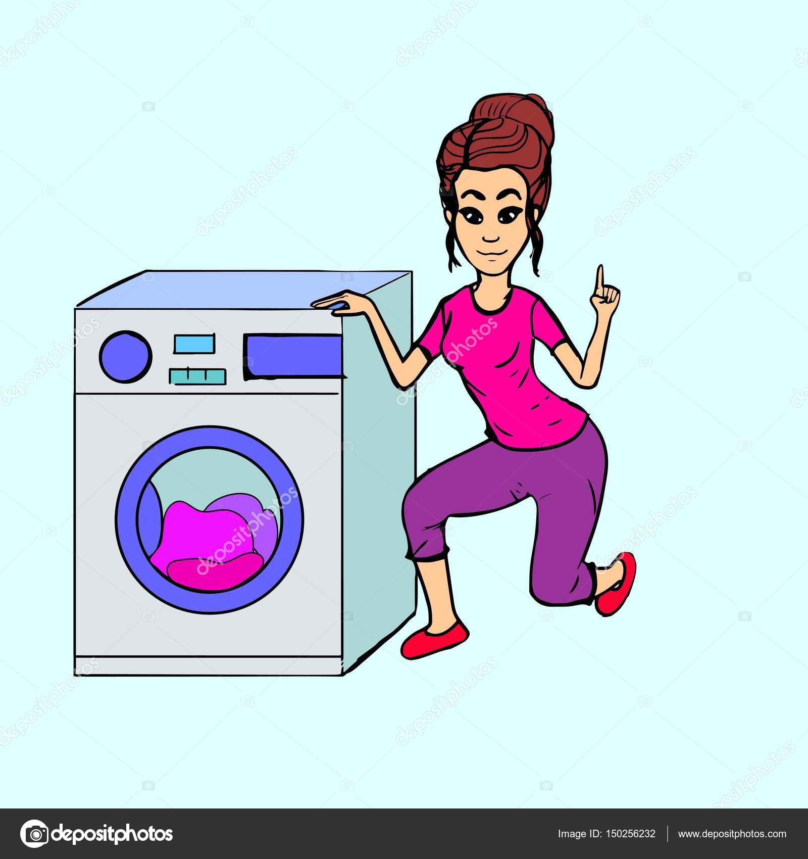 Sick clipart washing machine Laundry index a Woman Housewife