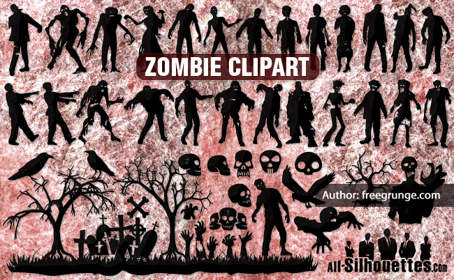 Zombie clipart border Vector Silhouettes silhouettes Vector All