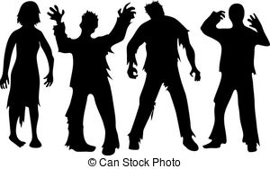 Zombie clipart silhouette White of zombie silhouette Zombie