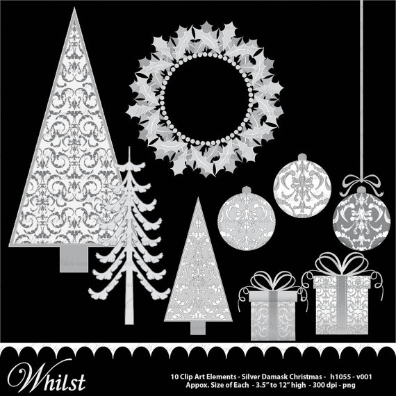 Silver clipart christmas tree Damask  Christmas ornaments clip