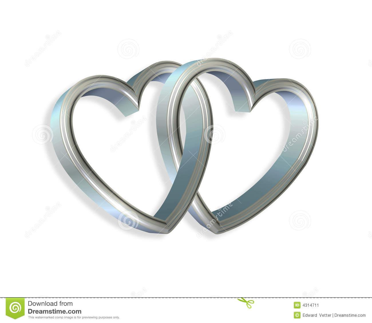 Silver clipart number 8 Hearts Linked Blue 3d Clipart
