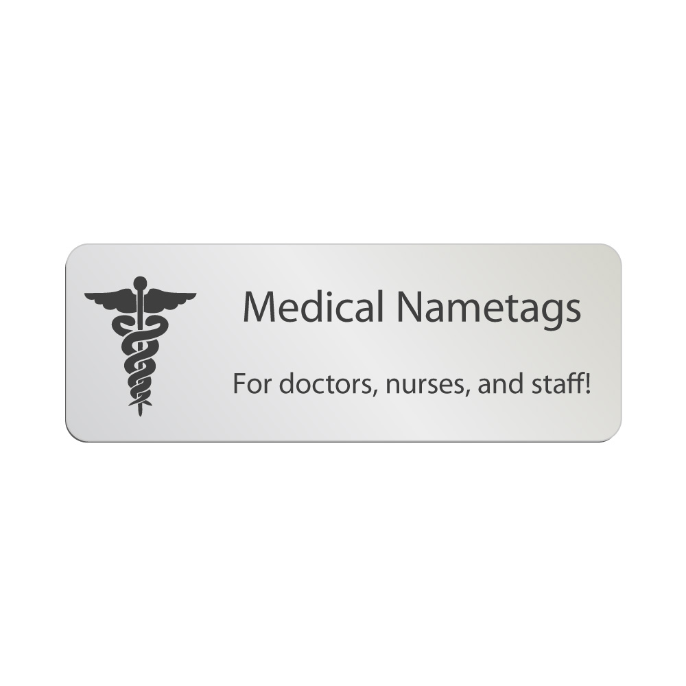 Silver clipart name plate Tags Engraved Medical Badges Custom