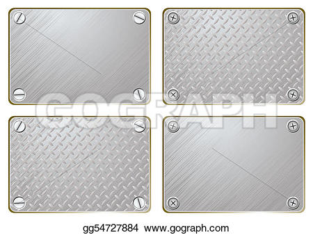 Silver clipart name plate With Art Metal text to