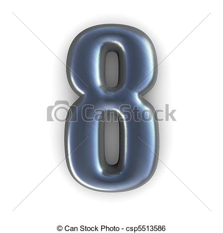 Silver clipart number 8 Brushed rendered 8 silver number