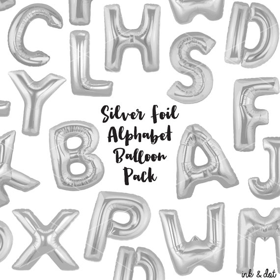 Silver clipart silver balloon Silver inkanddot Silver Letters