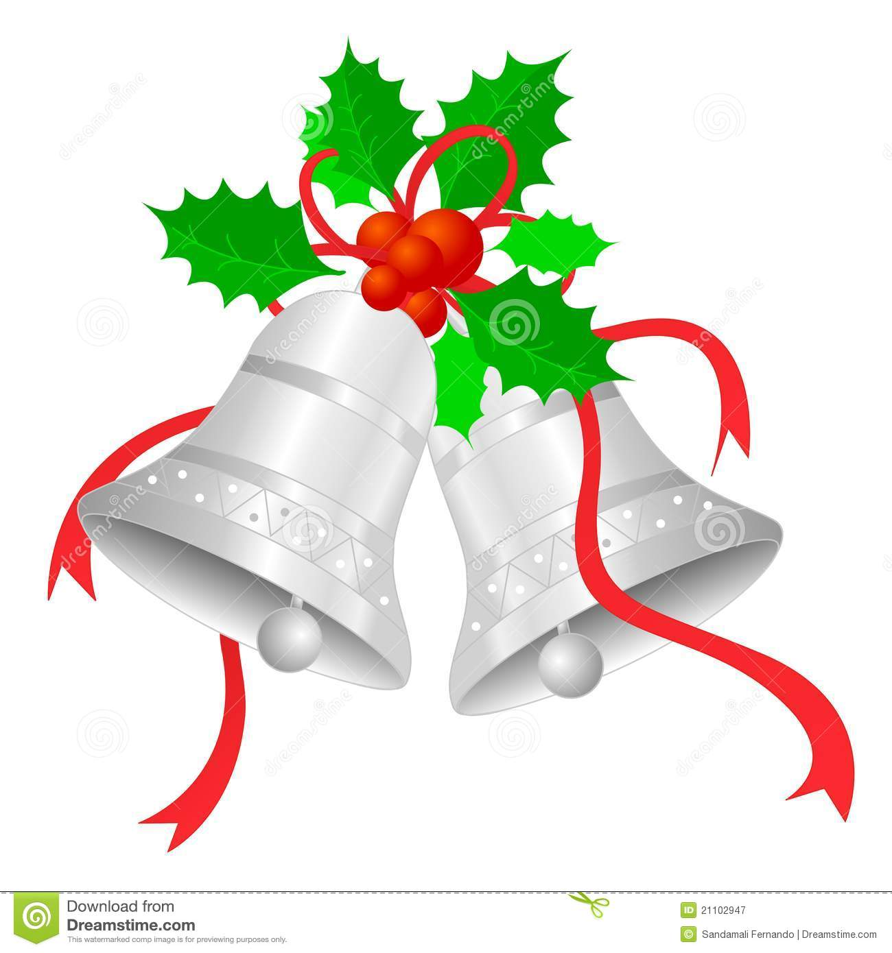 Silver clipart silver christmas Holly Art and ribbon Clip